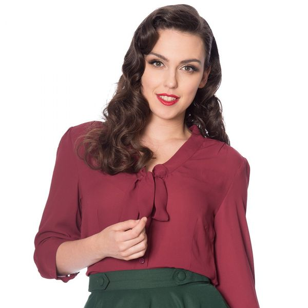 Blouse, PERFECT PUSSYBOW Burgundy (14030)
