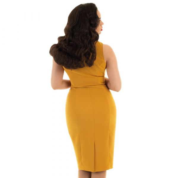 Pencil Dress, HR Margo Mustard (144)