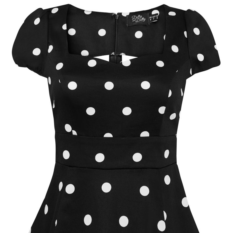 Swing Dress, CLAUDIA Black Polka (1695-11)