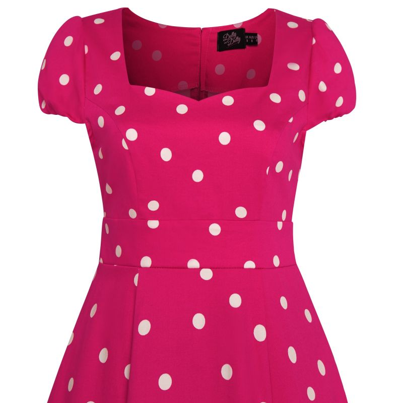 Swing Dress, CLAUDIA Hot Pink Polka (1695-18)
