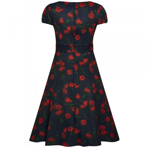 Swing Dress, CLAUDIA Navy/Red Floral (1695-40)