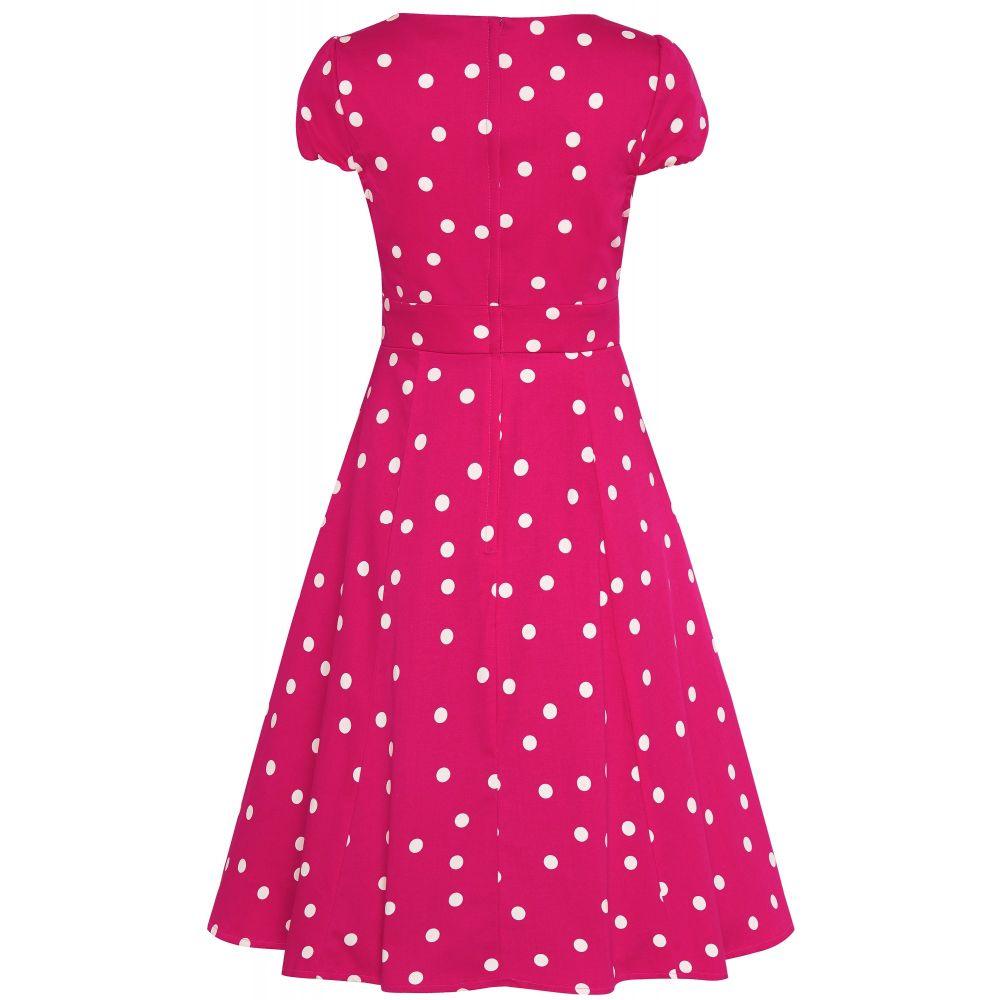 f1fe04e4acc1c Swing Dress, CLAUDIA Hot Pink Polka (1695-18)