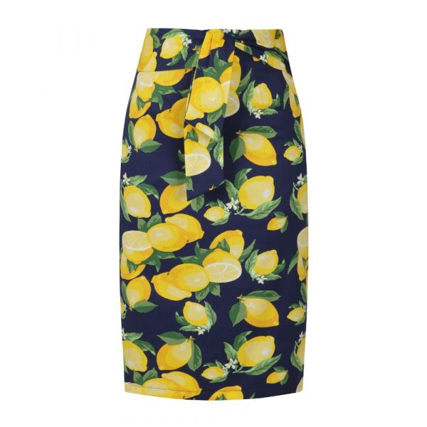 Pencil Skirt, LEMON Navy (25155)