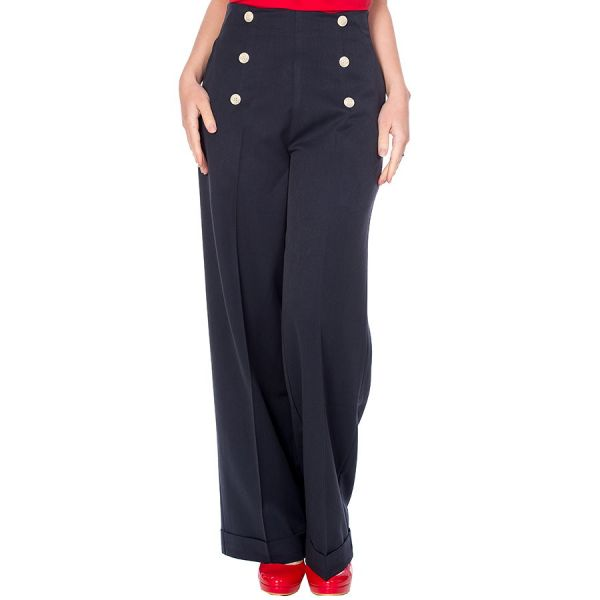 Trousers, BUTTON Navy (31935)