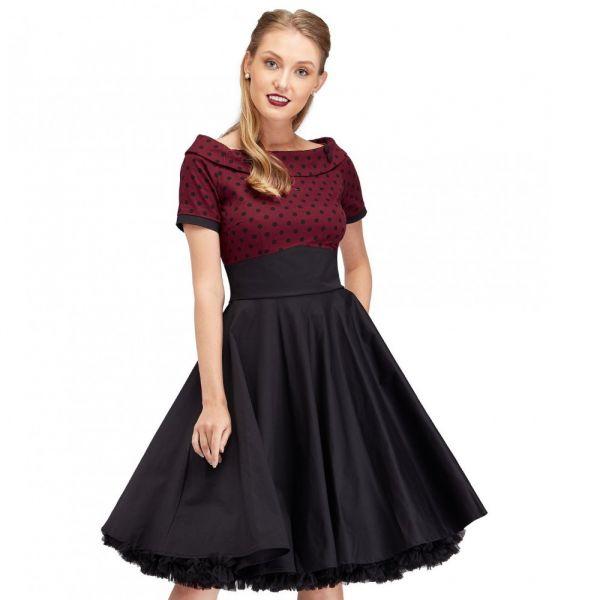 Swing Dress, DARLENE Burgundy Polka (333burg)