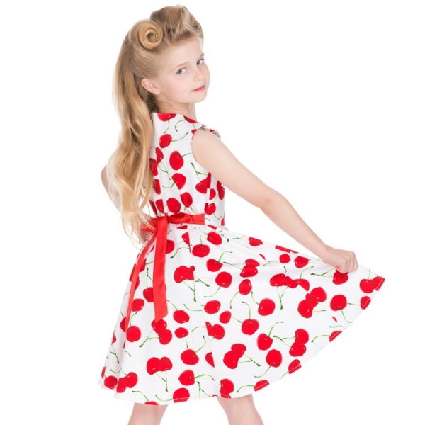Kids Swing Dress, HR Bombshell Cherry White (4085)