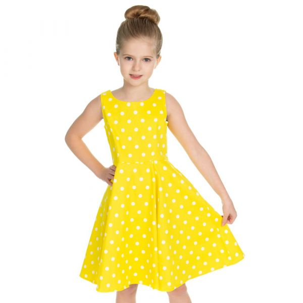 Kids Swing Dress, Cindy Polka Yellow (4317)