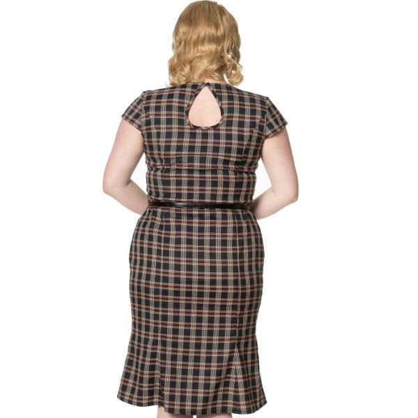 Pencil Dress, Black Check Plus (5147)