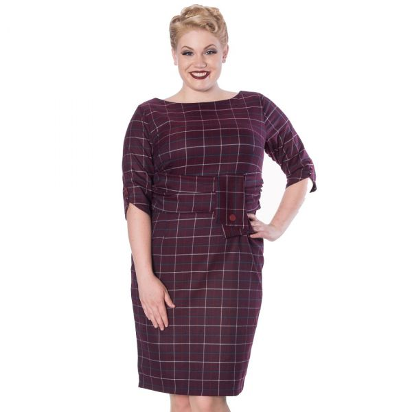 Pencil Dress, Bordeaux Check Plus (5380)