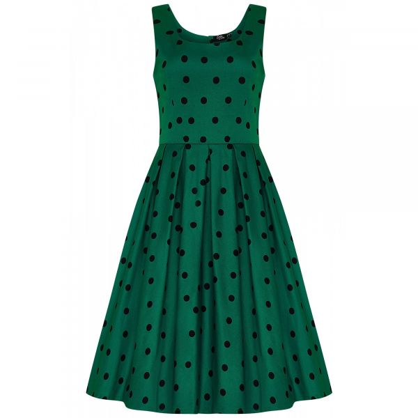 Swing Dress, AMANDA Green Polka (950-12)