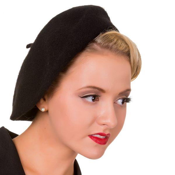 Beret Hat, Vintage Claire Black