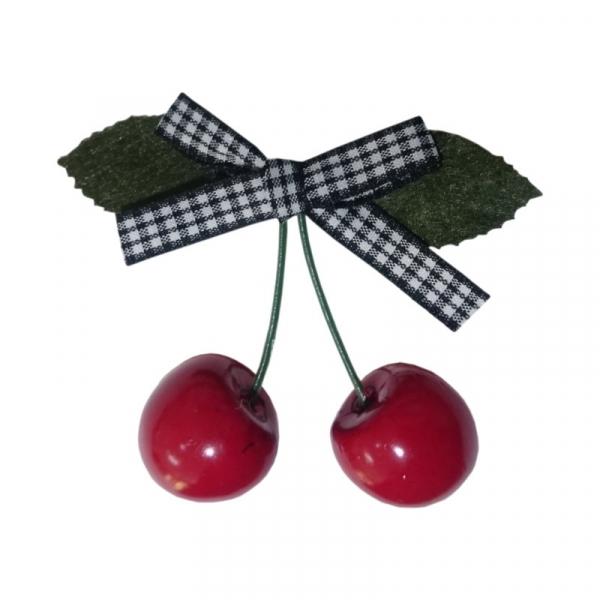 Hiuspinni, Cherry Bow Gingham Blk