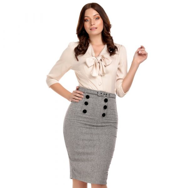Pencil Skirt, AGATHA Herringbone