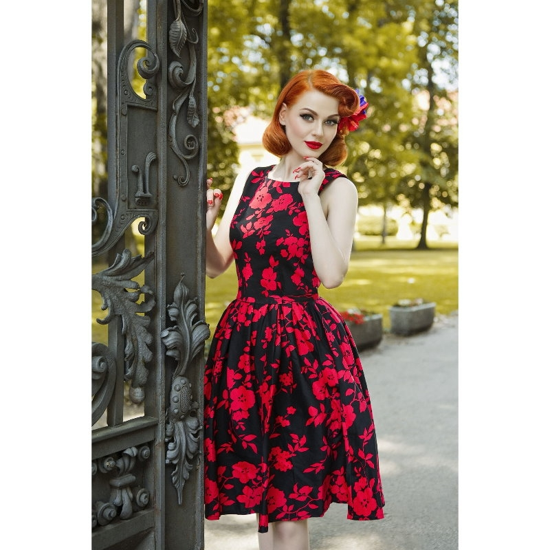 Swing Dress, ANNIE FLORAL BLK/RED
