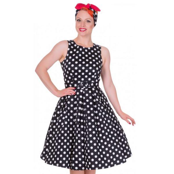 Swing Dress, ANNIE Polka Blk (905blk)