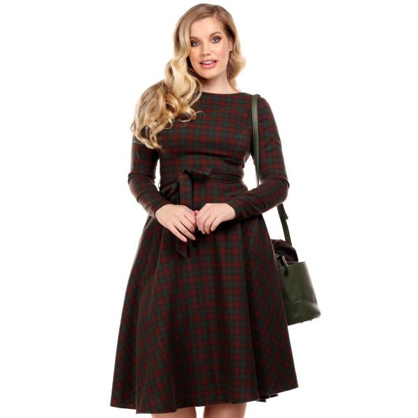 Swing Dress, ARWEN Woodland Pine Check