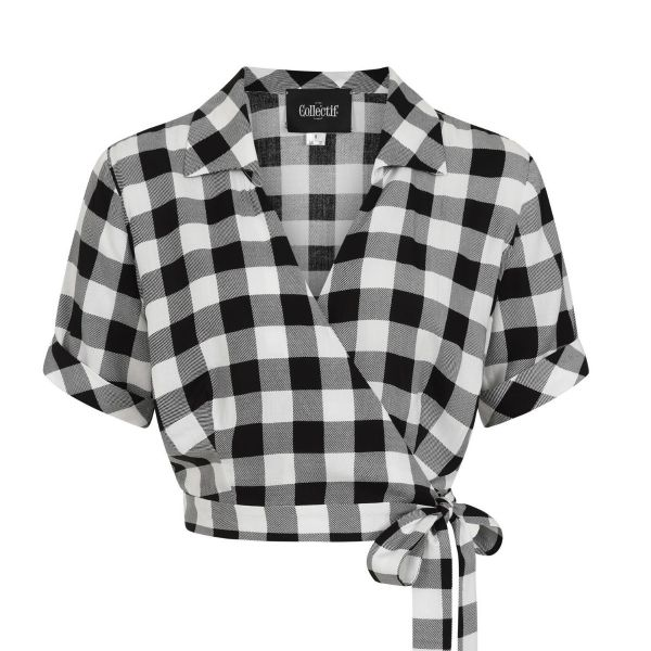 Blouse, ASHLEY Gingham Wrap