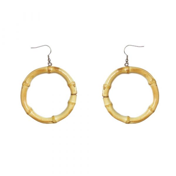 Earrings, TIKI BAMBOO Round