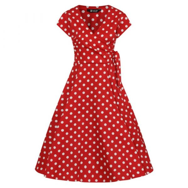 Swing Dress, BELLA Red Polka
