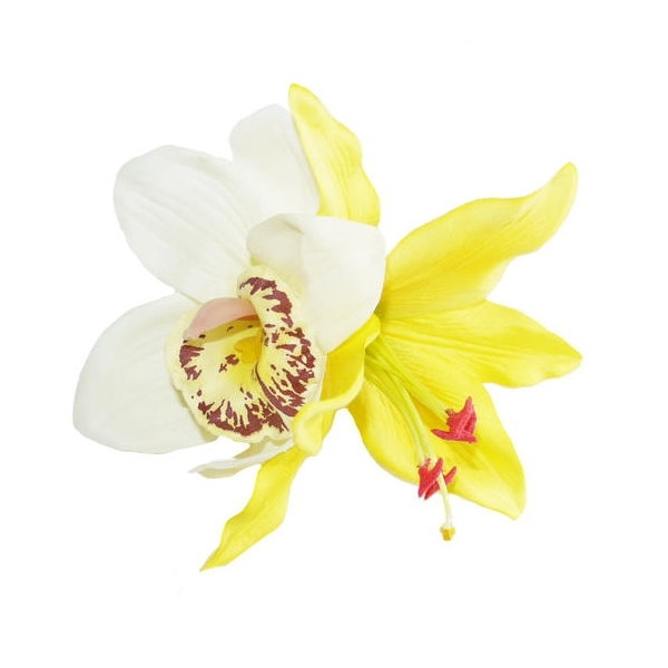 LADY LUCK'S, BILLIE White Orchid&Yellow Lily