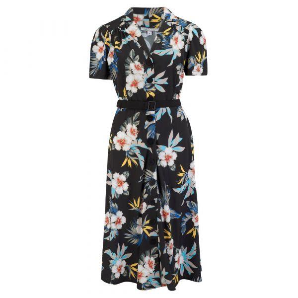 Swing Dress, ROCK'N Charlene Black Hawaiian