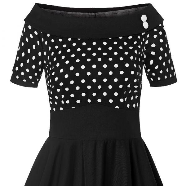 Swing Dress, DARLENE Black Polka (333)