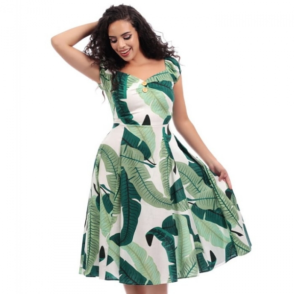 Swing Dress, DOLORES Banana Leaf