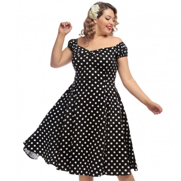 Swing Dress, DOLORES Polkadot Black