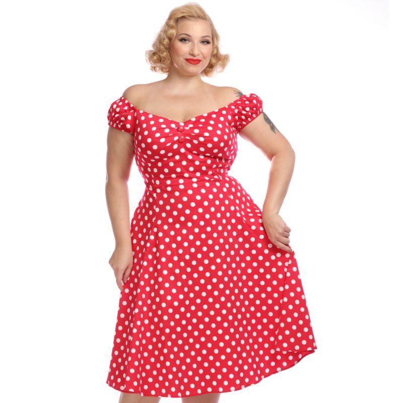 Swing Dress, DOLORES Polkadot Red
