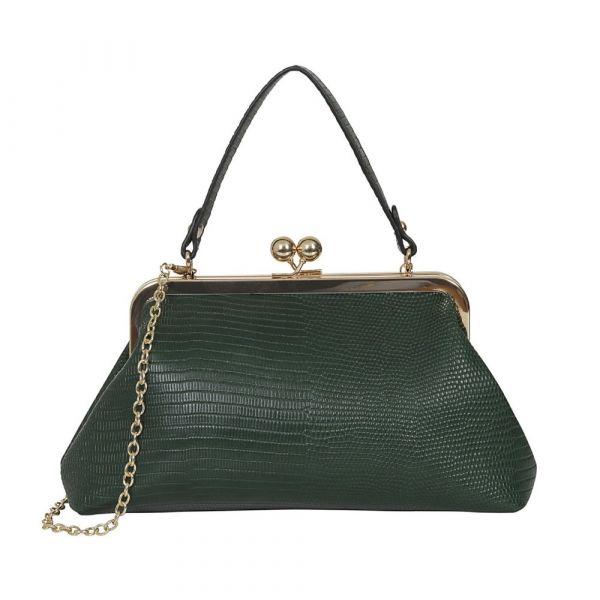 Handbag, DORIS Croc Green