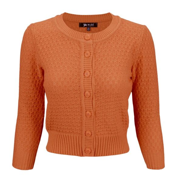 MAK Cardigan, Pat 50s Dusty Orange PLUS