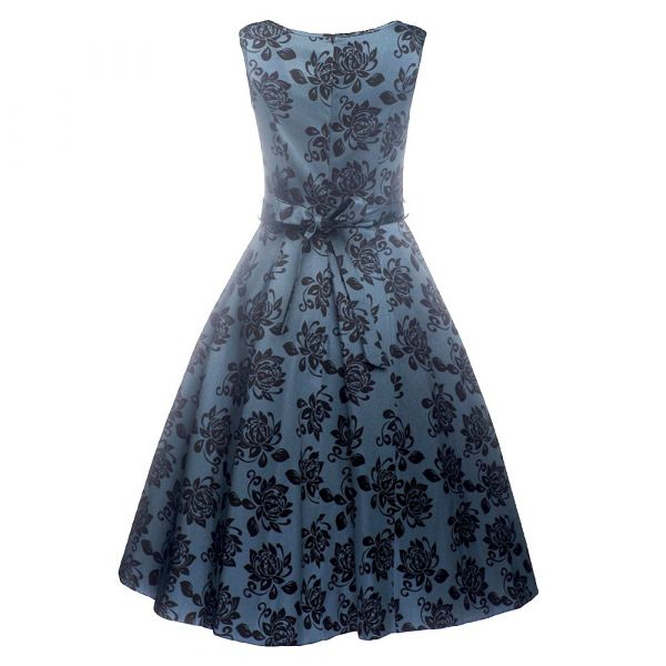Swing Dress, HEPBURN Elegant Floral Blue