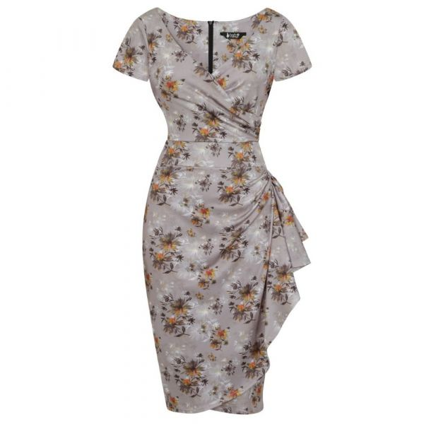 Pencil Dress, LADY V ELSIE Silver Floral