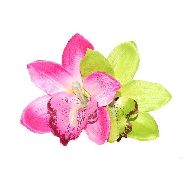 Hair flower, GIGI Pink & Lime Orchid