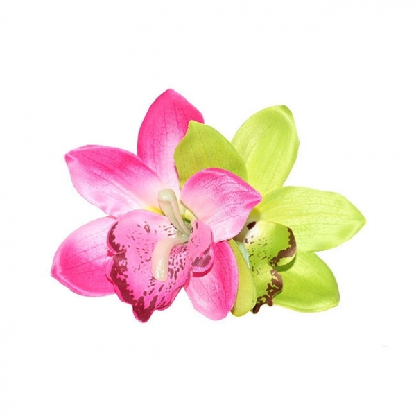 Hair flower, GIGI Pink & Lime Orchid