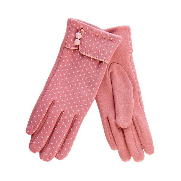Gloves, LEILA Pink Polka