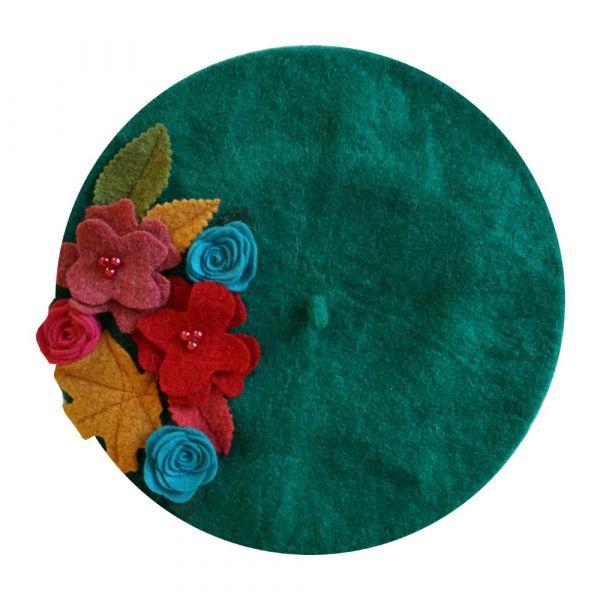 Beret, MIRANDA'S Green Floral