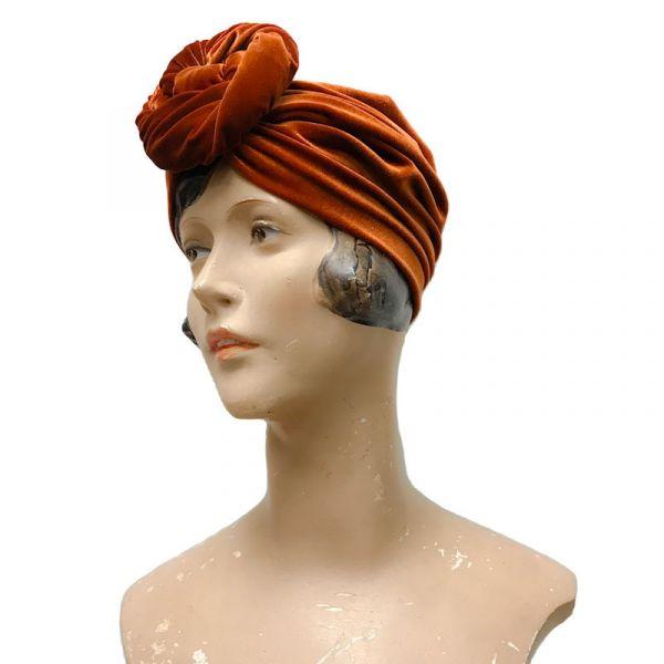 RUBYLEA Turban, GRETA Rust Velvet