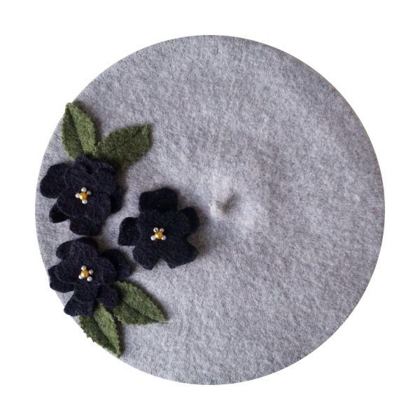 Beret, MIRANDA'S Grey Floral
