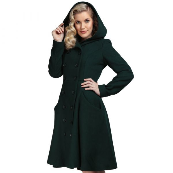 Coat, HEATHER Hooded Green
