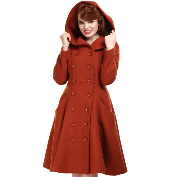 Coat, HEATHER Hooded Burnt Orange