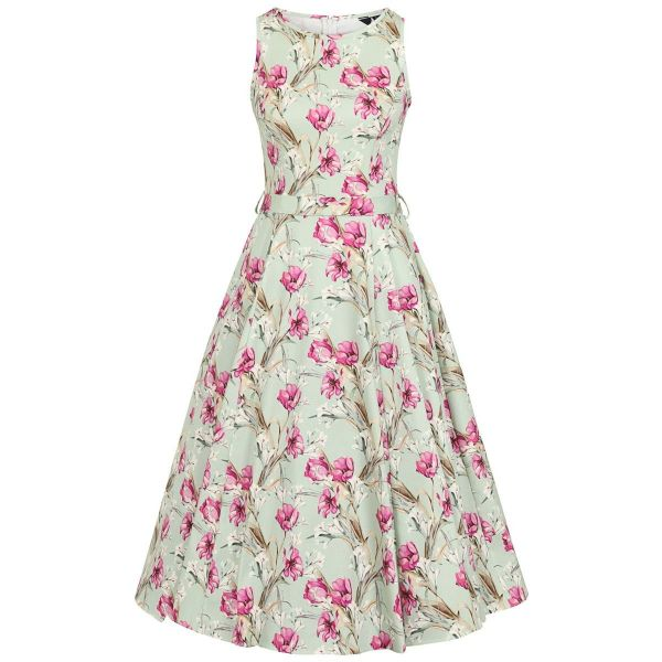 Swing Dress, HEPBURN Aqua Floral