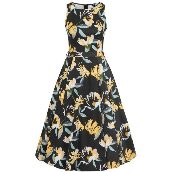 Swing Dress, HEPBURN Dark Floral