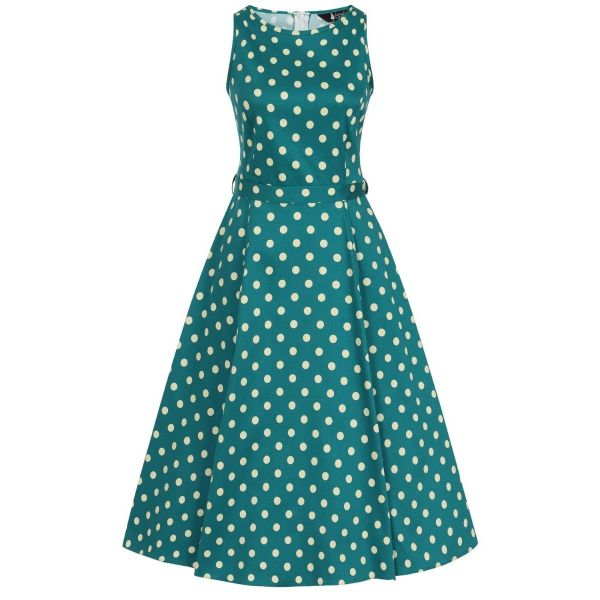 Swing Dress, HEPBURN Jade Polkadot