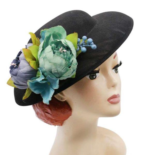 Hattu & Kukkakoriste, MIRANDA's Black & Dusty Blue Floral