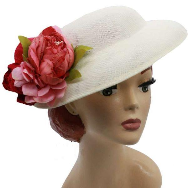 Hattu & Kukkakoriste, MIRANDA's White & Pink/Red Floral