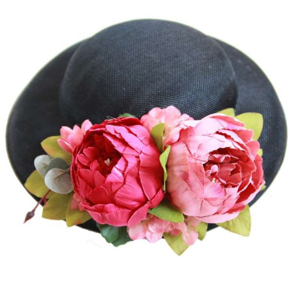 Hattu & Kukkakoriste, MIRANDA's Black & Pink/Red Floral