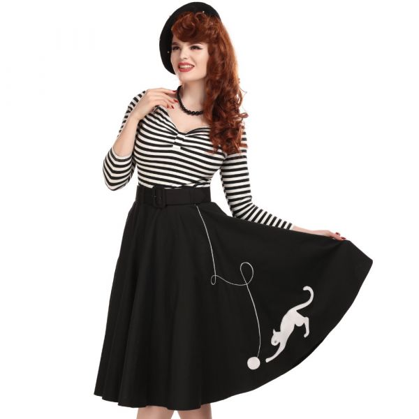 Swing Skirt, KITTY CAT Black