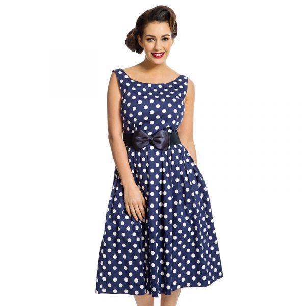 Swing Dress, LANA Navy Polka