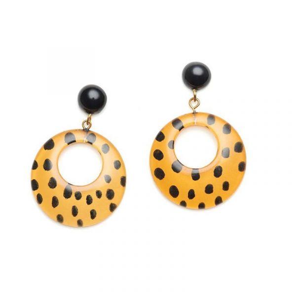 Earrings, SPLENDETTE Leopard Yellow